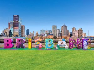 Brisbane letters with the skyline in the background